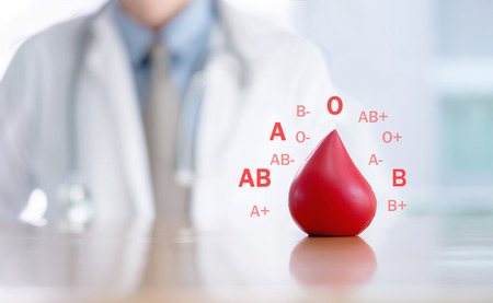 Donar / Grupo sanguíneo / Médico / Conceptos Foto de archivo