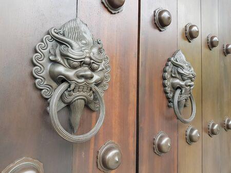 Ancient lion knocker on wooden door