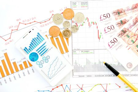 Financial close-up background. Financial accounting graphs
