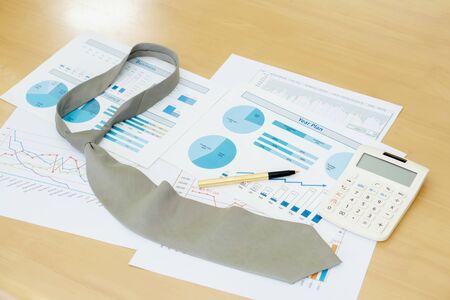 Necktie Graphs Calculator and Pen. Finance Concept Foto de archivo
