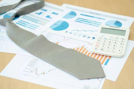 Necktie Graphs Calculator. Finance Concept Foto de archivo