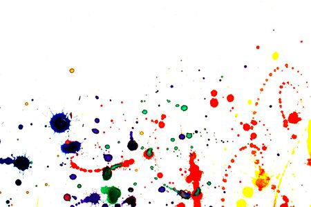 Abstract colorful watercolor splatters on white
