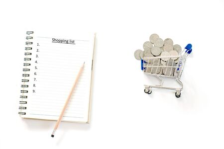 Shopping list concept coin on white background  isolate