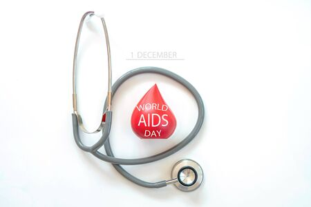 Top view shot of arrangement equipment medical background World Aids Day concept