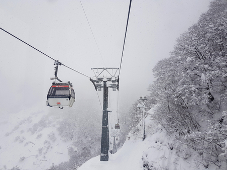 Gala Yuzawa,  Japan - December 14,2018 : Cable car Sky on Snow mountain