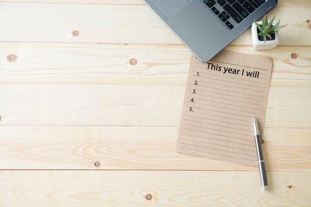 Top view wooden office New Year Resolutions 版權商用圖片