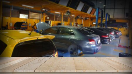 Auto repair service center with wooden tabletop space