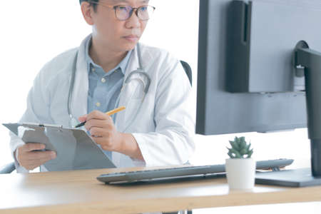 Doctor check up patient young asian woman a cough and gets infected diagnosis and treatment with remotely online discuss staying from home self isolation and computer technology concept