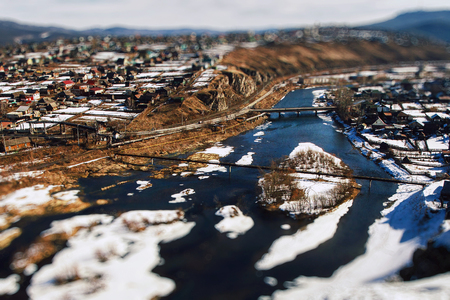 A small village Yuryuzan, Chelyabinsk region. Russia.