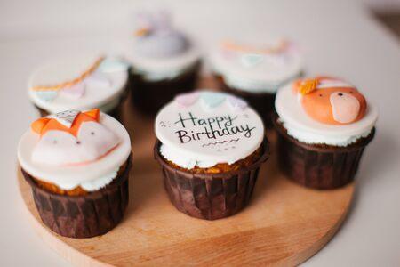 Cupcakes with mastic decor. Dessert