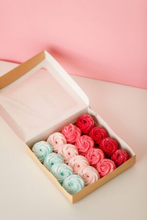 Multicolored marshmallows in paper packaging