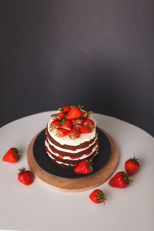 Cake with crust on dark background 스톡 콘텐츠