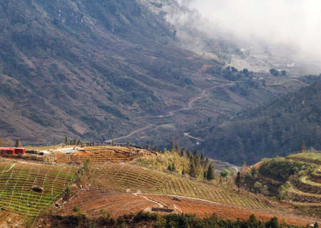 View of the highlands of Sapa region, Lao Cai province, Vietnam. Sa Pa is a mountainous area in Asia Imagens