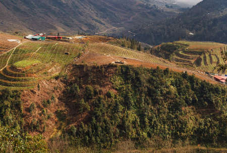 Hill view from farmland, Lao Cai province, Vietnam. Sapa is a mountainous region in Asia