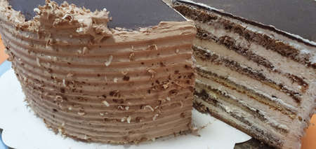Sliced cake. Cake with chocolate and cream. Pastry