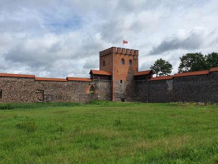 Medininkai, Lithuania, June 30, 2020. Medieval Castle Medininkai in Vilnius district,