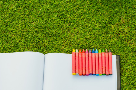 wax crayons and sketchbook on fresh spring green grass photo