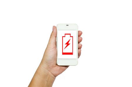 hand holding smart phone: Hand holding smart phone isolated on white background Stock Photo