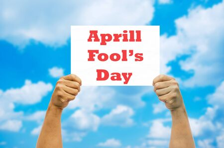 fool: Hand holding April Fool\ Foto de archivo