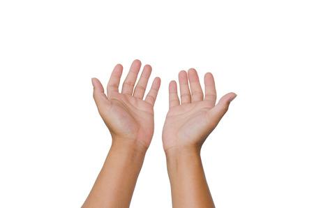 Abrir las manos aisladas en fondo blanco. Foto de archivo
