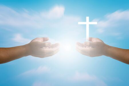 outstretched: Pray the Lord to the cross and the light of hope.