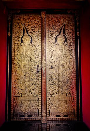 asian art: Thai pattern on door in Thailand Buddha Temple Asian style art