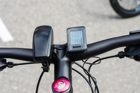 health facilities: Components of the bicycle headlight and speedometer. Stock Photo