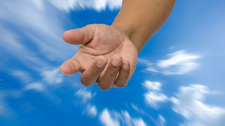 repentance: open hand on sky