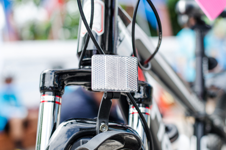 reflectors: Bicycle headlight reflectors for safety. Stock Photo