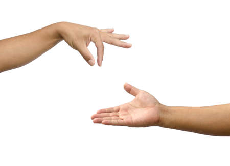 two people with others: Hand gestures by two people. Expresses support for an opportunity to commensurate with others