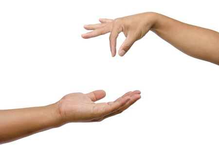 commensurate: Hand gestures by two people. Expresses support for an opportunity to commensurate with others