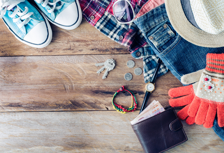 Accessories and apparel for men on a wooden floor - life style