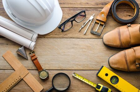 plumb: Uniforms and equipment of the engineers working - concept for men Stock Photo