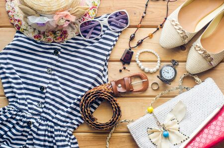 Travel Clothing accessories apparel along with summer for women Stock Photo