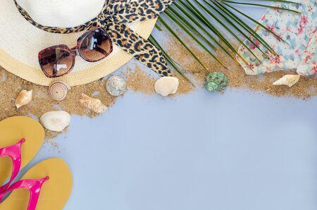 eyewear fashion: Summer accessories on blue background
