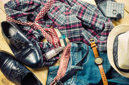 clutter: Clothing of young men remove the clutter. Stock Photo