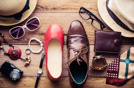 Clothing and accessories for men and women ready for travel - life style