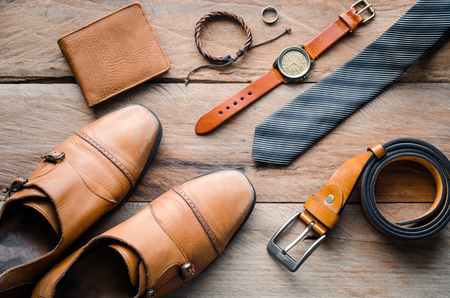 accessories for mens lay on the wooden floor