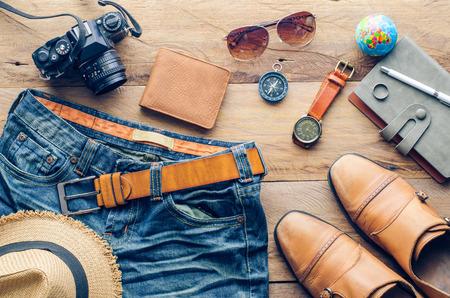 accessories for men on the wooden floor Stockfoto