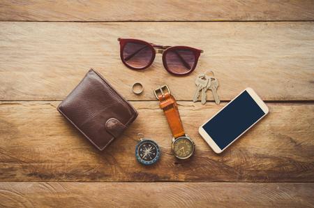 Accessories for men on the wooden floor. Stock Photo