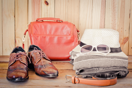 Travel accessories. Shirts, jeans, hats,shoes,bag, Belt,sunglasses,  ready for the trip