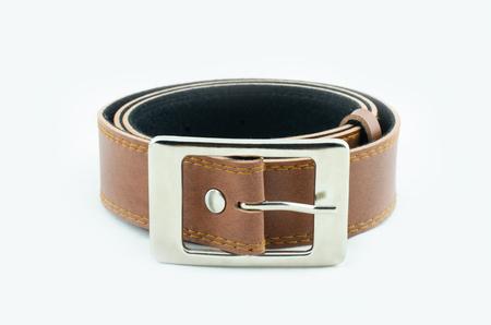 chrome man: Brown belt mens white background. Stock Photo
