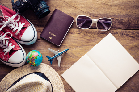 floo: Planning for trip clothing and accessories on wood floo Stock Photo