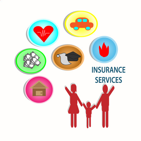 Insurance for Life and Family Security - concept vector Illustration