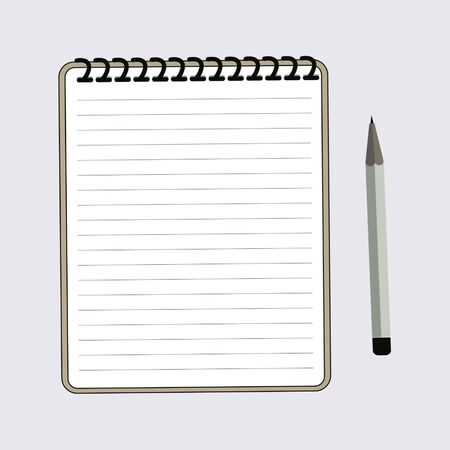 Notebook and pencil on white background, vector illustration. Vectores