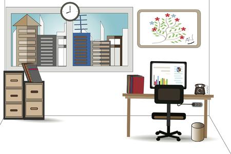Office desks, computer vector graphics - concept of business.