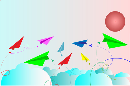 Paper planes multi color on blue sky with clouds - vector concept