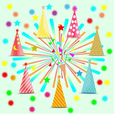 Feast, celebration, decoration accessories, colorful fireworks hat - vector concept