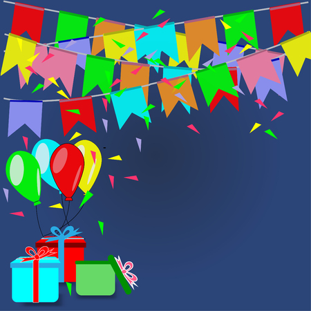 Party with colorful flags, balloons and gifts - Party concept vector illustration. Vectores