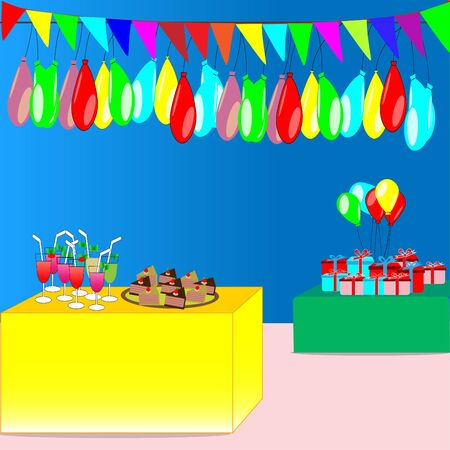 Party with colorful flags, balloons, gifts, drink and cake - vector party concept
